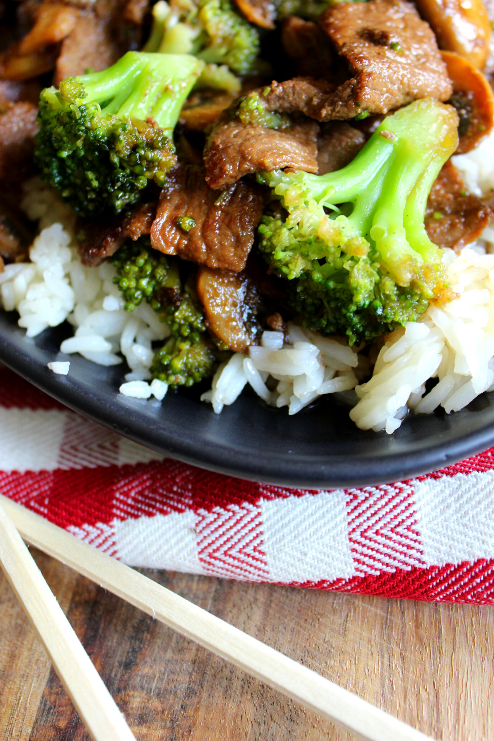 Better Than Takeout Beef & Broccoli Recipe Easy One Pan Beef and Broccoli with Mushrooms Homemade Chinese Simple Healthy Beef Stir Fry My Farmhouse Table