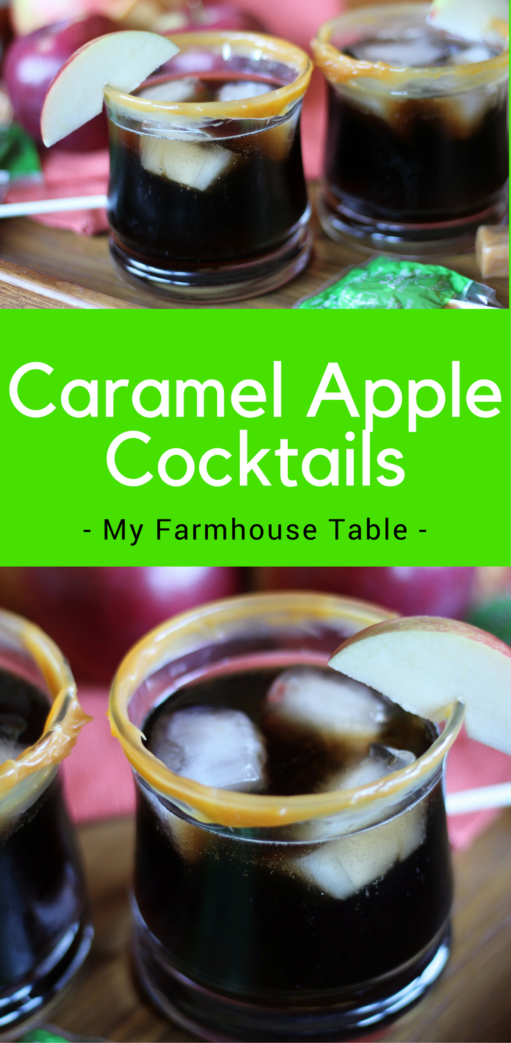 Caramel Apple Cocktail My Farmhouse Table Drinks Fall Party Dr Pepper Whiskey Vodka Halloween Drink Thanksgiving Drink