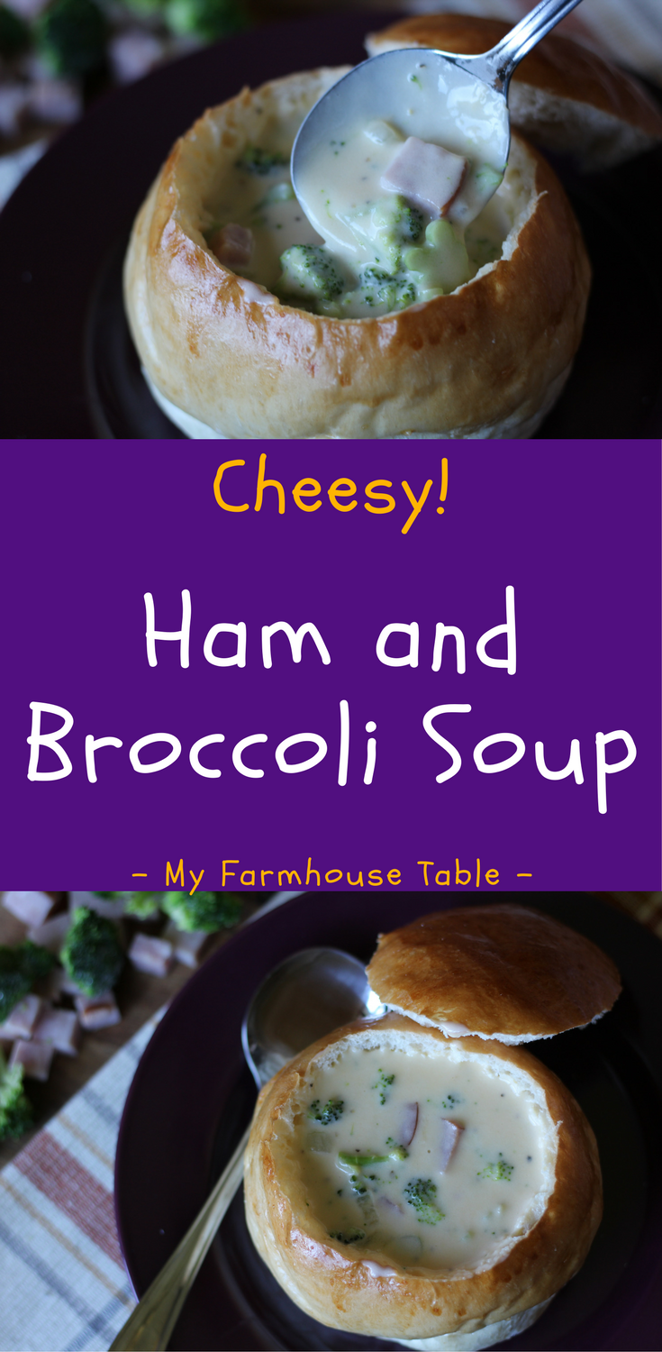 Easy Cheesy Ham and Broccoli Soup Recipe Broccoli Cheese Soup Leftover Ham Recipes Crockpot Recipe Slow Cooker Recipes Velveeta My Farmhouse Table