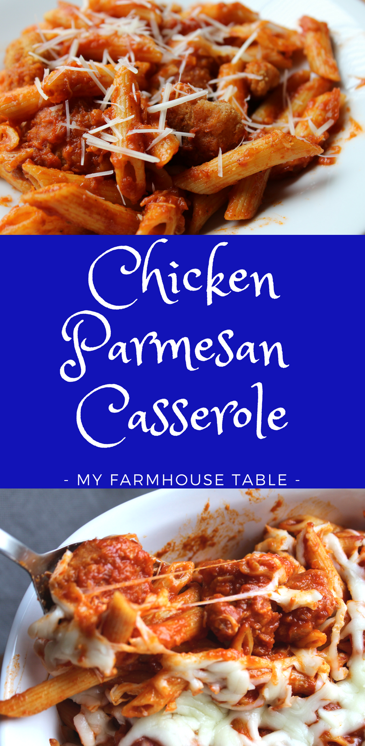 Easy Baked Chicken Parmesan Casserole with Pasta Recipe Freezer Meal Casserole Ideas Pasta Bake Meal Prep Ideas Frozen Popcorn Chicken Recipes My Farmhouse Table