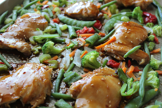 Chicken Stir Fry Sheet Pan Supper Chicken Sheet Pan Supper Ideas Chicken Teriyaki Boneless Skinless Chicken Thigh Recipes 3 Ingredients Kitchen Shortcuts Quick and Easy Stir Fry Recipes One Pan Meal My Farmhouse Table