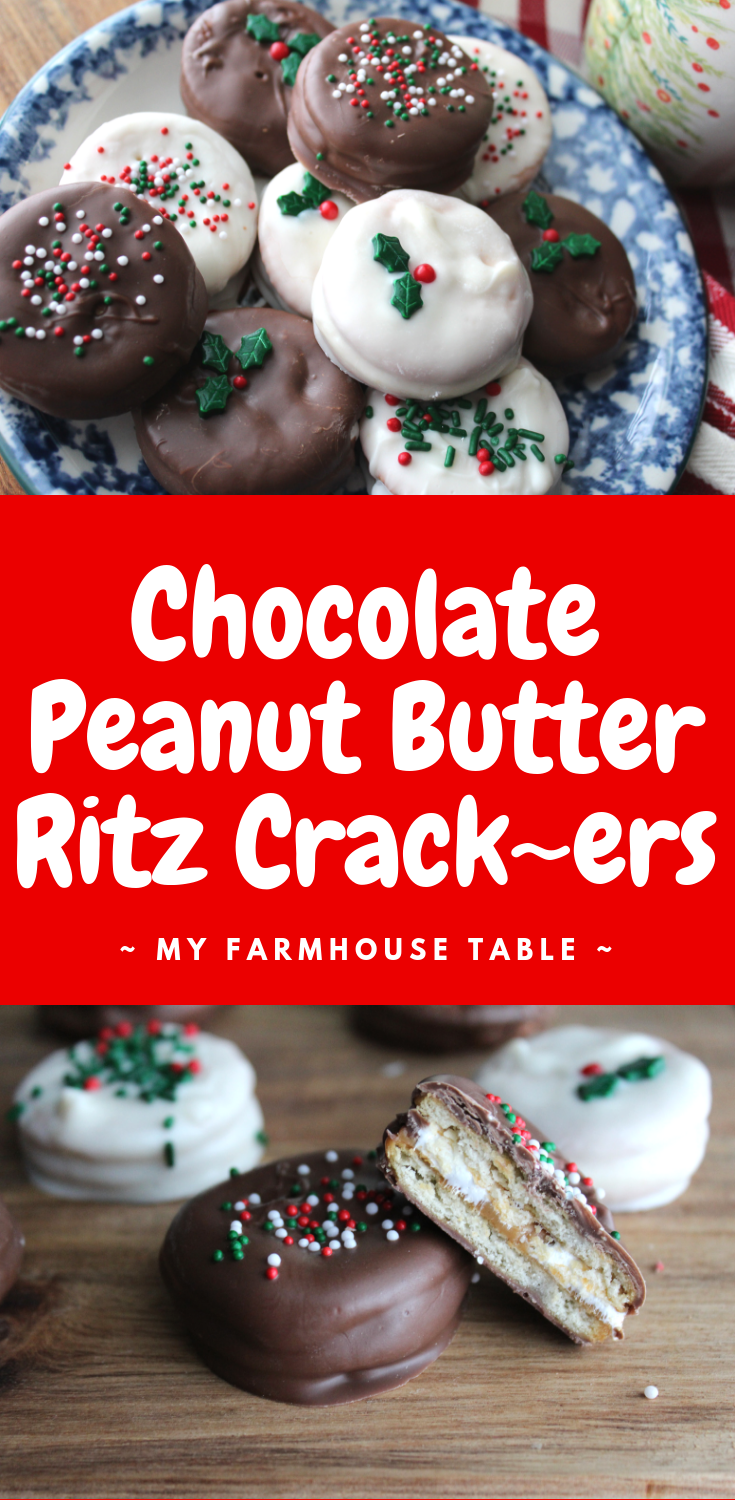Chocolate Peanut Butter Ritz Crackers Easy Christmas Cookies Christmas Candy Cookie Exchange Ritz Cracker Recipes Chocolate Peanut Butter Cookies Ritz Dessert Almond Bark Recipes My Farmhouse Table