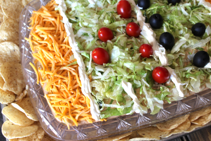 Game Day Taco Dip Football Party Food Tailgate Recipes Easy Taco Dip Super Bowl Party Ideas Super Bowl Appetizers Football Snacks Football Stadium Snack Display My Farmhouse Table