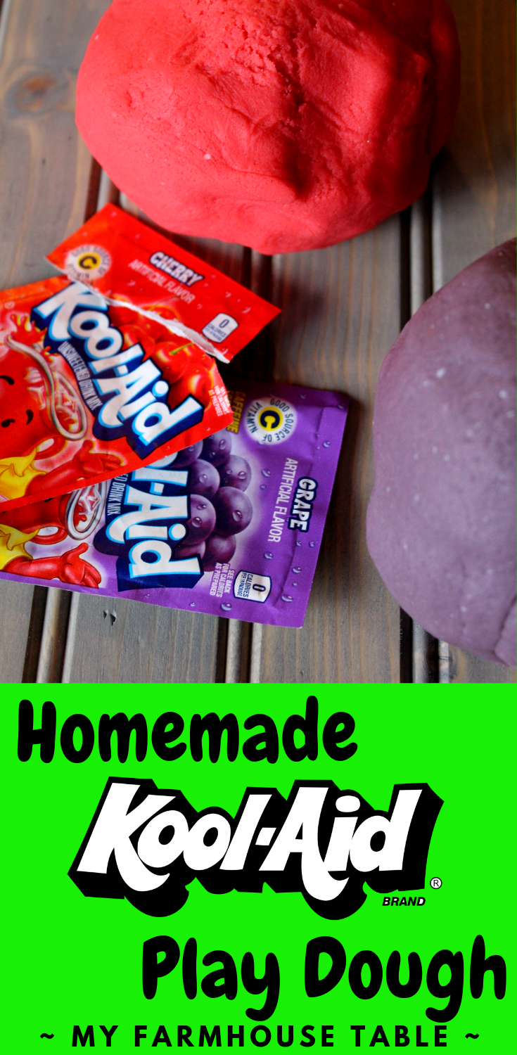 Kool Aid Play Dough Recipe No Cook No Cream of Tarter Easy Homemade Playdoh Kool-Aid Playdoh Recipe Kid's Activity Ideas Winter Kid Activities Ideas to Keep Kids Busy My Farmhouse Table