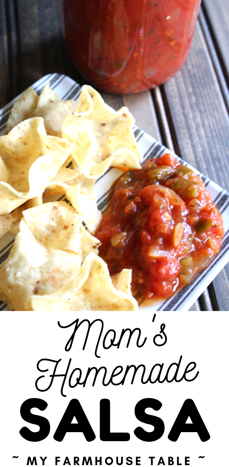 Mom's Homemade Salsa with Fresh Tomatoes Easy Canned Salsa Recipe The Best Homemade Salsa from Scratch Spicy Chunky Blended My Farmhouse Table