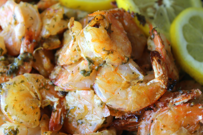 One Pan Oven Baked Shrimp Recipe Shrimp Scampi with Lemon Spicy Shrimp Bake Easy Garlic Shrimp Bake One Pan Meals Sheet Pan Dinners Sheet Pan Supper My Farmhouse Table