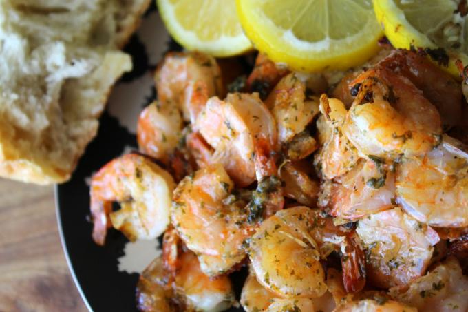 One Pan Oven Baked Shrimp Recipe Shrimp Scampi with Lemon Spicy Shrimp Bake Easy Garlic Shrimp Bake One Pan Meals Sheet Pan Dinners Sheet Pan Supper My Farmhouse Table