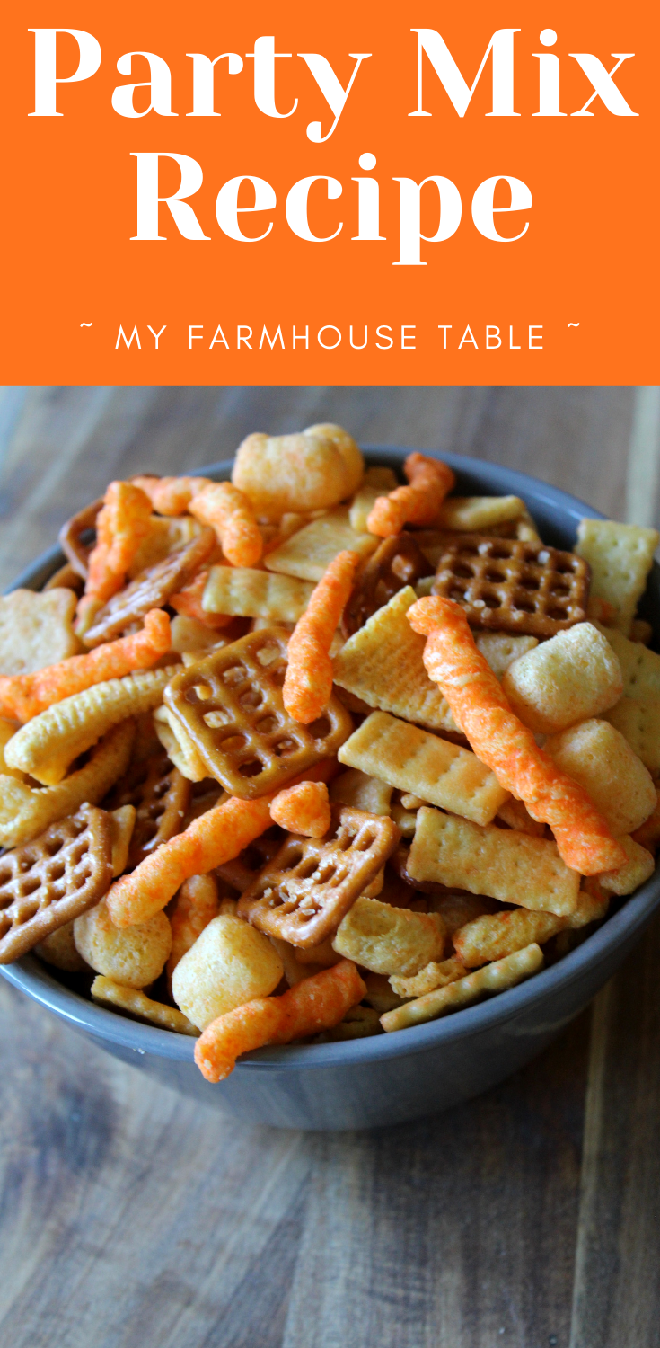 Easy Party Mix Recipe Cheesy and Garlic with Bugles Savory Snack Ideas Crackers Pretzels Cheetos The Best Homemade Snack for a Crowd Original Cheese made in a garbage bag My Farmhouse Table