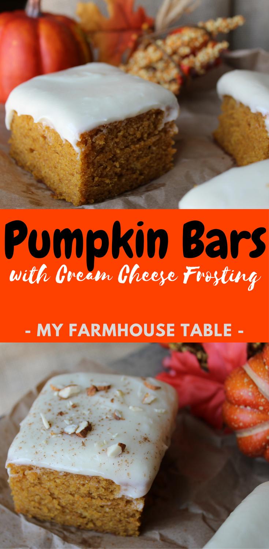 Pumpkin Bars with Cream Cheese Frosting My Farmhouse Table Fall Pumpkin Cake Moist