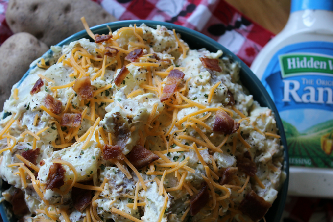 Loaded Ranch Baked Potato Salad Recipe Easy with Ranch and Bacon My Farmhouse Table Potato Salad Recipe Memorial Day Recipe Fourth of July Recipe