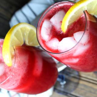 Easy Raspberry Spritzer Drink Summer Cocktail Non Alcoholic Mocktail White Wine Champagne Vodka Prosecco Moscato My Farmhouse Table