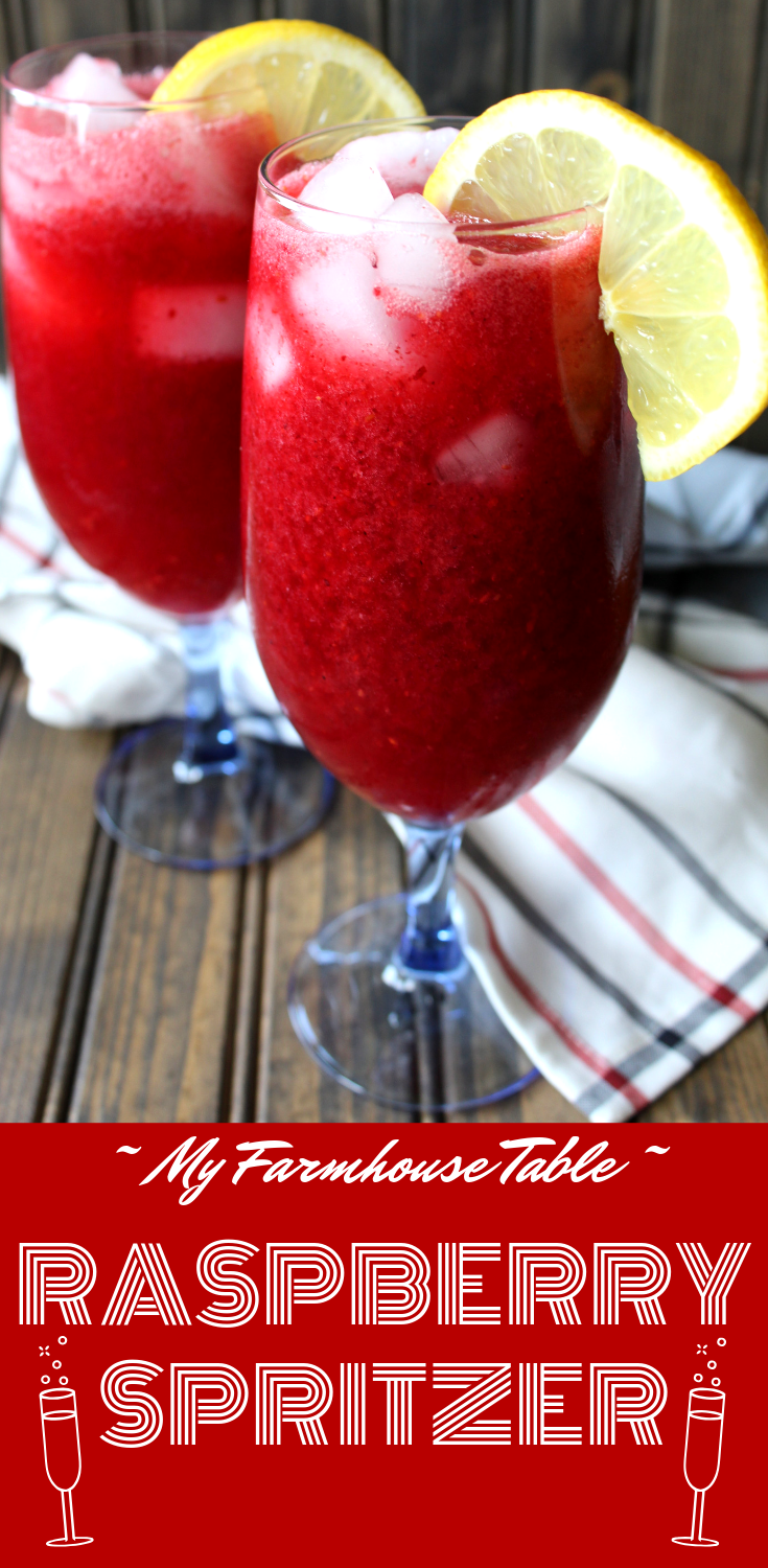 Easy Raspberry Spritzer Drink Summer Cocktail Non Alcoholic Mocktail White Wine Champagne Vodka Prosecco Moscato My Farmhouse Table