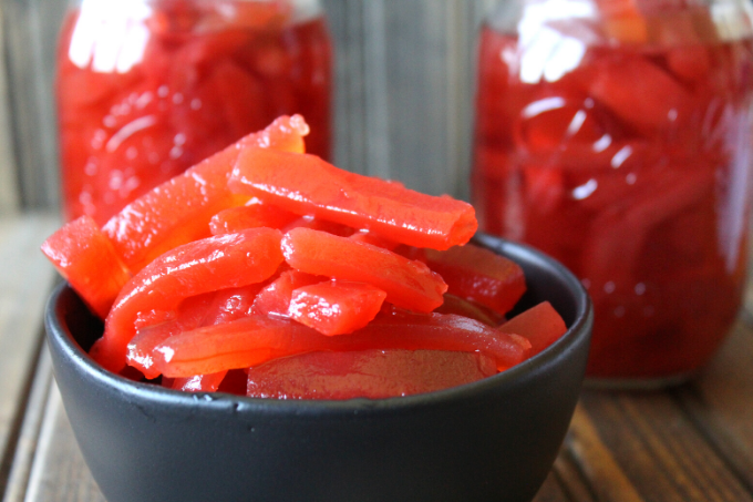 Candied Red Hot Cinnamon Pickles Recipe Easy Canning Garden Cucumbers Christmas Pickles Made with Red Hot Cinnamon Candies Cinnamon Pickle Rings Sticks My Farmhouse Table