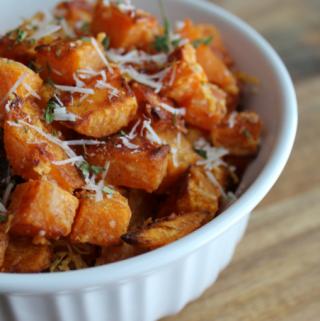 Roasted Garlic Parmesan Sweet Potatoes