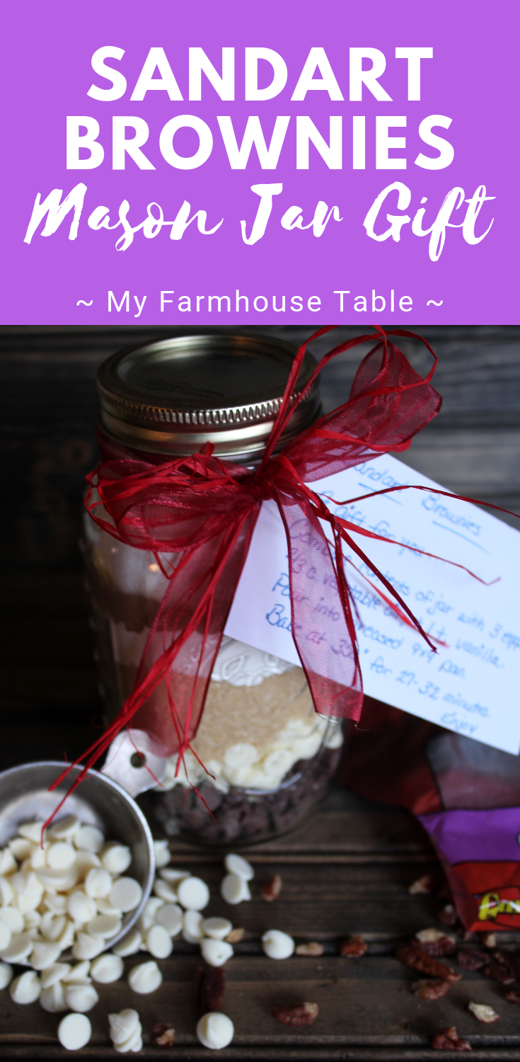 Sandart Brownies Mason Jar Gift for Christmas DIY Mason Jar Gifts for Friends Mason Jar Recipes My Farmhouse Table