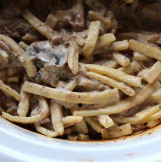 Slow Cooker Creamy Beef Stroganoff and Noodles with Cream Cheese Simple and Easy Recipe with Mushrooms and Stew Meat My Farmhouse Table