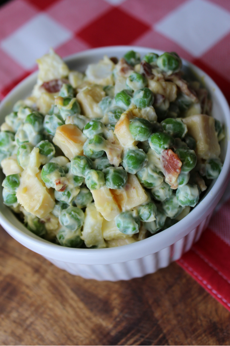 Smoked Gouda Pea Salad With Bacon and Eggs Recipe Easy Simple Creamy Pea Salad My Farmhouse Table