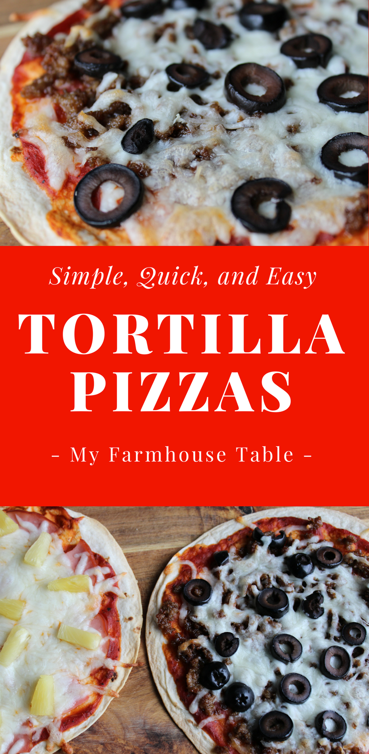 Easy Tortilla Pizzas Baked Pizza Recipe Simple Pizza Bar Ideas Healthy Low Carb Pizza Recipe Kid Friendly Food My Farmhouse Table
